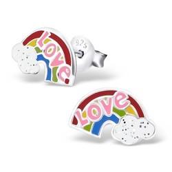 Fako Bijoux® - Kinderoorbellen - 925 Zilver - Regenboog Love - 10x6mm - Multicolor