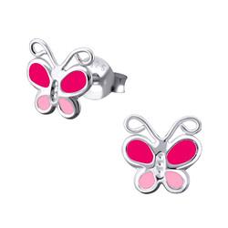 Fako Bijoux® - Kinderoorbellen - 925 Zilver - Vlinder - 7x7mm - Roze