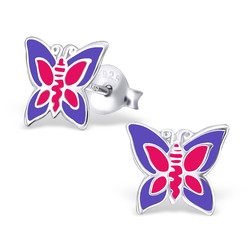 Fako Bijoux® - Kinderoorbellen - 925 Zilver - Vlinder - 9x8mm - Paars/Roze