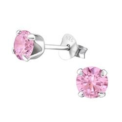 Fako Bijoux® - Oorbellen - 925 Zilver - Zirkonia - 5x5mm - Roze