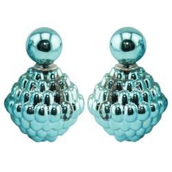 Fako Bijoux® - Oorbellen - Double Dots - Spike - Lichtblauw