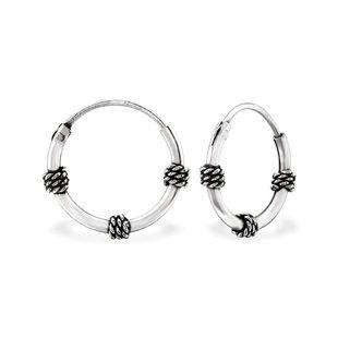 Fako Bijoux® - Kinderoorbellen - 925 Zilver - Ringen Bali - 12x12mm - Zilverkleurig