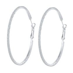 Fako Bijoux® - Oorbellen - Oorringen - 60mm - Glitter Rand - Zilverkleurig