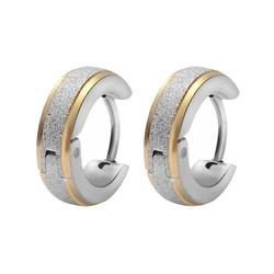 Fako Bijoux® - Oorbellen - Oorringen - Stainless Steel - Glitter - 13mm - Goud-/Zilverkleurig