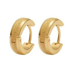 Fako Bijoux® - Oorbellen - Oorringen - Stainless Steel - Glitter - 13mm - Goudkleurig
