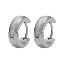 Fako Bijoux® - Oorbellen - Oorringen - Stainless Steel - Glitter - 13mm - Zilverkleurig