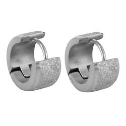 Fako Bijoux® - Oorbellen - Oorringen - Stainless Steel - Glitter - 6mm Breed - Zilverkleurig