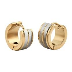 Fako Bijoux® - Oorbellen - Oorringen - Stainless Steel - Zilver/Goud Geborsteld
