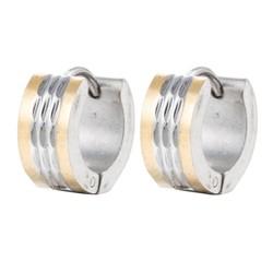 Fako Bijoux® - Oorbellen - Oorringen - Stainless Steel - Zilver/Goud Quatro