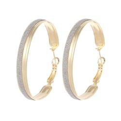 Fako Bijoux® - Oorbellen - Oorringen - 47mm - Glitter - Goudkleurig