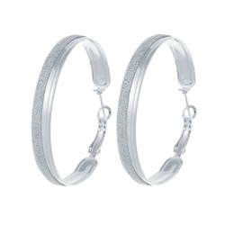 Fako Bijoux® - Oorbellen - Oorringen - 47mm - Glitter - Zilverkleurig