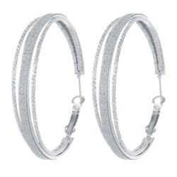 Fako Bijoux® - Oorbellen - Oorringen - 50mm - Glitter - Zilverkleurig