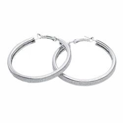 Fako Bijoux® - Oorbellen - Oorringen - 50mm - Glitter Breed - Zilverkleurig