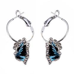 Fako Bijoux® - Oorringen - 20mm - Vlinder Kristal - Blauw