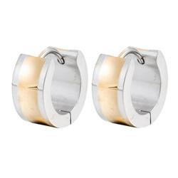 Fako Bijoux® - Oorbellen - Oorringen - Stainless Steel - Breed - Zilver/Goudkleurig