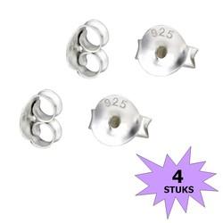 Fako Bijoux® - Oorbel Stoppers / Achterkantjes - 925 Zilver - 5mm - 4 Stuks