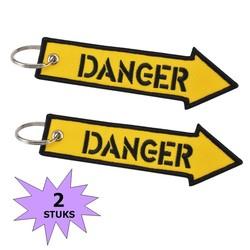 Fako Bijoux® - Sleutelhanger - Danger - Geel - 2 Stuks