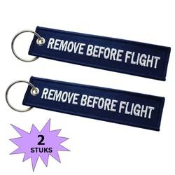 Fako Bijoux® - Sleutelhanger - Remove Before Flight - Donkerblauw - 2 Stuks