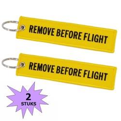 Fako Bijoux® - Sleutelhanger - Remove Before Flight - Geel - 2 Stuks