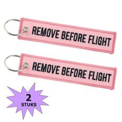 Fako Bijoux® - Sleutelhanger - Remove Before Flight - Roze - 2 Stuks