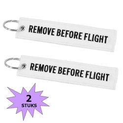 Fako Bijoux® - Sleutelhanger - Remove Before Flight - Wit - 2 Stuks