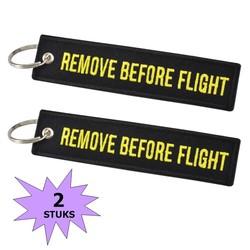 Fako Bijoux® - Sleutelhanger - Remove Before Flight - Zwart/Geel - 2 Stuks