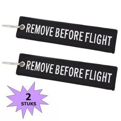 Fako Bijoux® - Sleutelhanger - Remove Before Flight - Zwart/Wit - 2 Stuks
