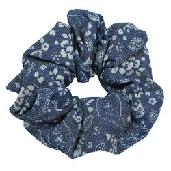 Fako Fashion® - Scrunchie - Haarelastiek - Denim - Bloemen - Donkerblauw