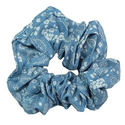 Fako Fashion® - Scrunchie - Haarelastiek - Denim - Bloemen - Lichtblauw