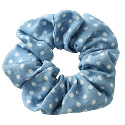 Fako Fashion® - Scrunchie - Haarelastiek - Denim - Stippen - Lichtblauw