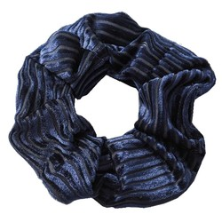 Fako Fashion® - Scrunchie - Haarelastiek - Velvet Duo - Donkerblauw