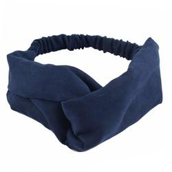 Fako Fashion® - Suède Cross Haarband - Velours Suède - Donkerblauw