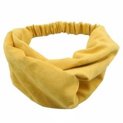 Fako Fashion® - Suède Cross Haarband - Hoofdband - Velours Suède - Okergeel