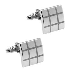 Fako Bijoux® - Manchetknopen - Blokken Open - Mat/Glans - Zilverkleurig