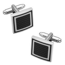 Fako Bijoux® - Manchetknopen - Carbon - Vierkant - Zwart - 17x17mm - Zilverkleurig