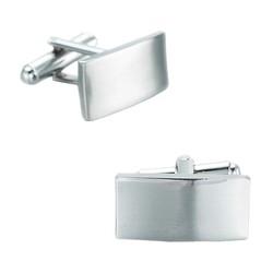 Fako Bijoux® - Manchetknopen - Rechthoek - 20x10mm - Poli/Mat - Zilverkleurig