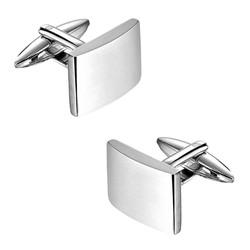 Fako Bijoux® - Manchetknopen - Rechthoek - 20x15mm - Poli/Mat - Zilverkleurig