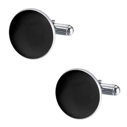 Fako Bijoux® - Manchetknopen - Rond - Classic - Zwart - Ø 18mm - Zilverkleurig