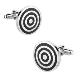 Fako Bijoux® - Manchetknopen - Rond - Target - Zwart - Ø 20mm - Zilverkleurig