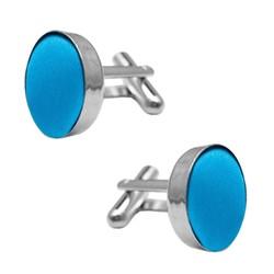 Fako Bijoux® - Manchetknopen - Staal & Zijde - Ø 16mm - Blauw
