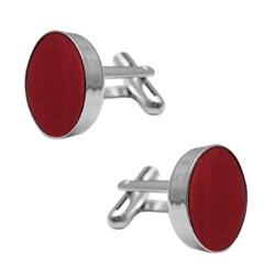 Fako Bijoux® - Manchetknopen - Staal & Zijde - Ø 16mm - Bordeaux Rood