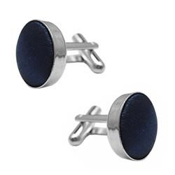 Fako Bijoux® - Manchetknopen - Staal & Zijde - Ø 16mm - Donkerblauw