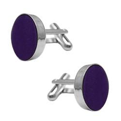 Fako Bijoux® - Manchetknopen - Staal & Zijde - Ø 16mm - Donkerpaars