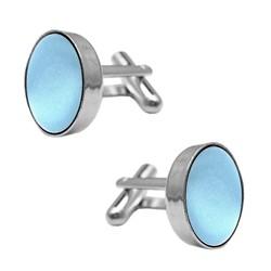 Fako Bijoux® - Manchetknopen - Staal & Zijde - Ø 16mm - Lichtblauw