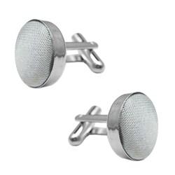 Fako Bijoux® - Manchetknopen - Staal & Zijde - Ø 16mm - Lichtgrijs