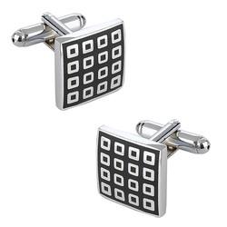 Fako Bijoux® - Manchetknopen - Vierkant - Blokjes - Zwart - 16x16mm - Zilverkleurig
