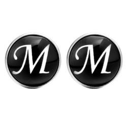 Fako Bijoux® - Manchetknopen - Rond - Ø 18mm - Alfabet - Letter M