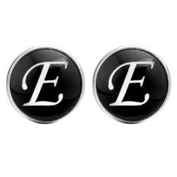 Fako Bijoux® - Manchetknopen - Rond - Ø 18mm - Alfabet - Letter E