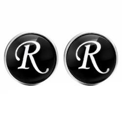Fako Bijoux® - Manchetknopen - Rond - Ø 18mm - Alfabet - Letter R