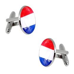 Fako Bijoux® - Manchetknopen - Nederlande Vlag - Ø 22mm - Zilverkleurig